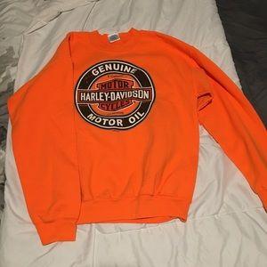 Safety Orange Harley Davidson Sweatshirt